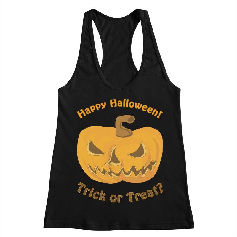 Happy Halloween Pumpkin Women's Racerback Tank by Logo Gear & Logo Wear