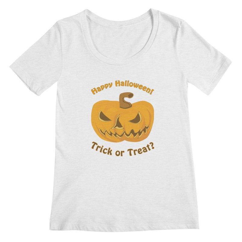 Happy Halloween Pumpkin Women's Regular Scoop Neck by Logo Gear & Logo Wear
