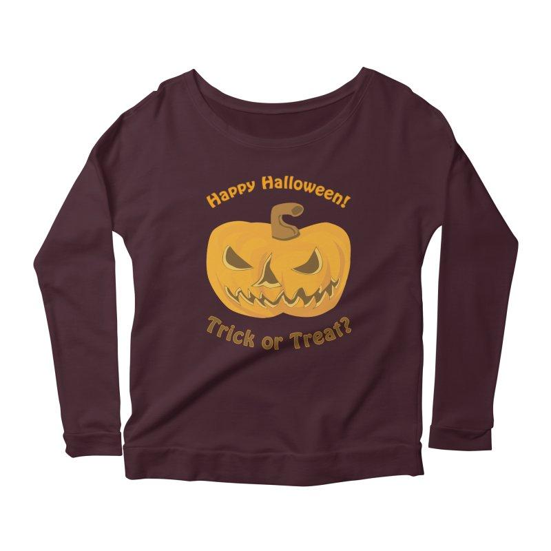 Happy Halloween Pumpkin Women's Scoop Neck Longsleeve T-Shirt by Logo Gear & Logo Wear