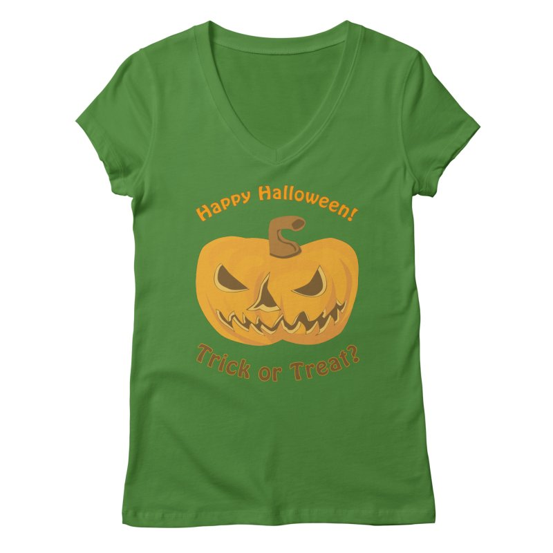 Happy Halloween Pumpkin Women's V-Neck by Logo Gear & Logo Wear