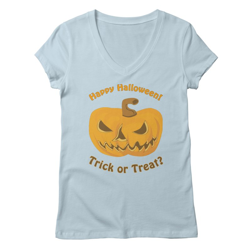 Happy Halloween Pumpkin Women's Regular V-Neck by Logo Gear & Logo Wear