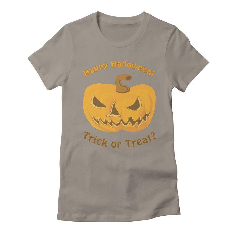 Happy Halloween Pumpkin Women's Fitted T-Shirt by Logo Gear & Logo Wear