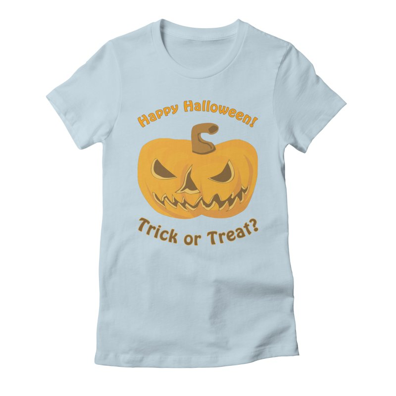 Happy Halloween Pumpkin Women's Fitted T-Shirt by Logo Gear & Logo Wear