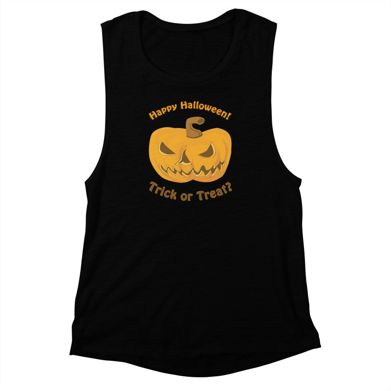 Happy Halloween Pumpkin Women's Muscle Tank by Logo Gear & Logo Wear