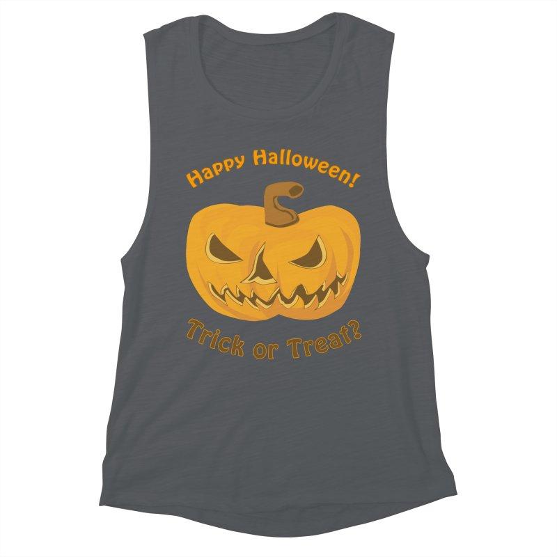Happy Halloween Pumpkin Women's Muscle Tank by Logo Gear & Logo Wear