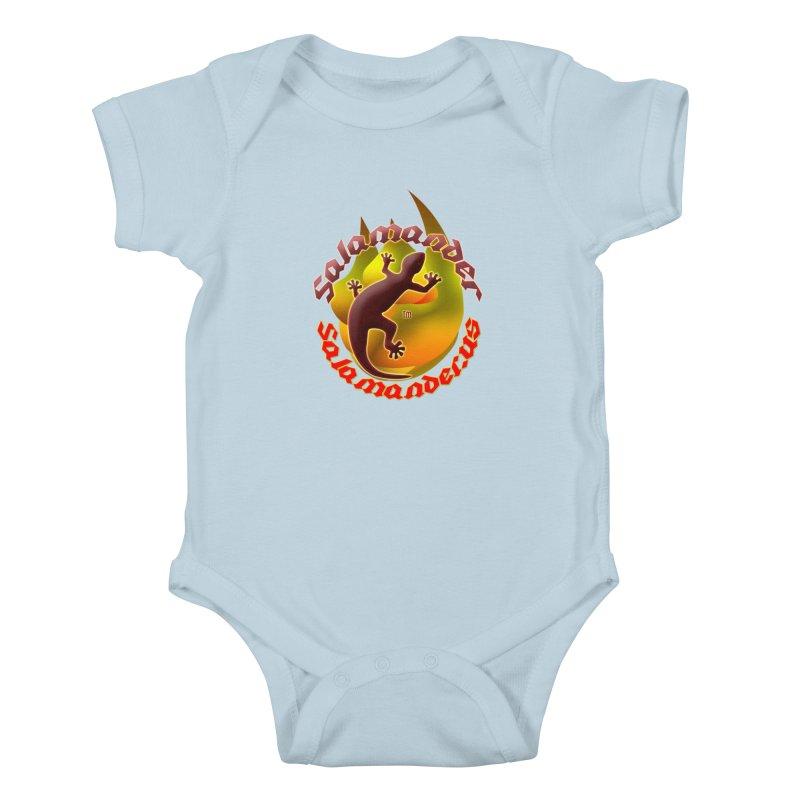 Salamander logo (small flame) Kids Baby Bodysuit by Logo Gear & Logo Wear