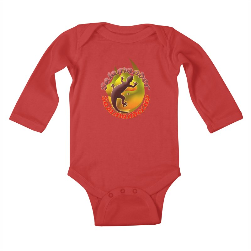 Salamander logo (small flame) Kids Baby Longsleeve Bodysuit by Logo Gear & Logo Wear