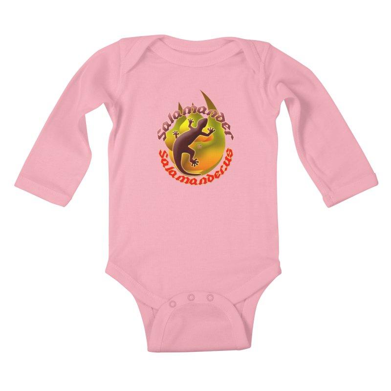 Salamander logo (small flame) Kids Baby Longsleeve Bodysuit by Logo Gear & Logo Wear