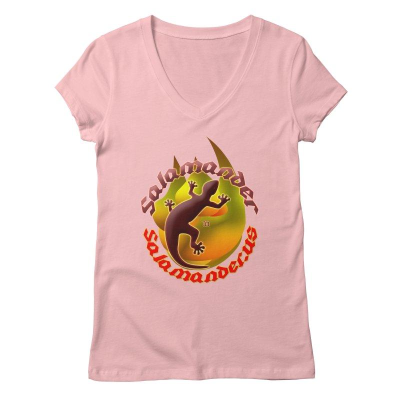 Salamander logo (small flame) Women's V-Neck by Logo Gear & Logo Wear
