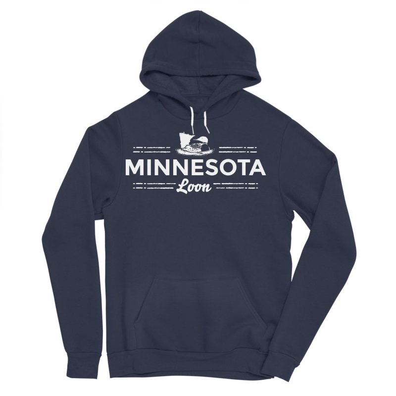 MN Loon (white) Men's Sponge Fleece Pullover Hoody by Logo Mo Doodles, Drawings, and Designs