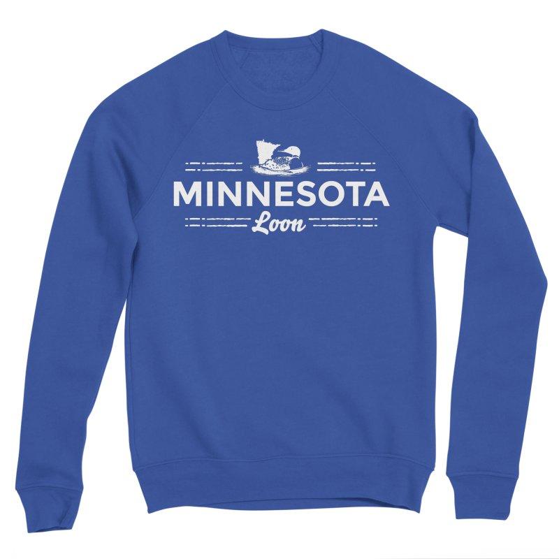 MN Loon (white) Men's Sponge Fleece Sweatshirt by Logo Mo Doodles, Drawings, and Designs