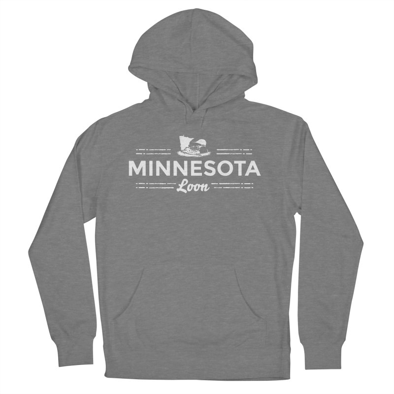 MN Loon (white) Men's French Terry Pullover Hoody by Logo Mo Doodles, Drawings, and Designs