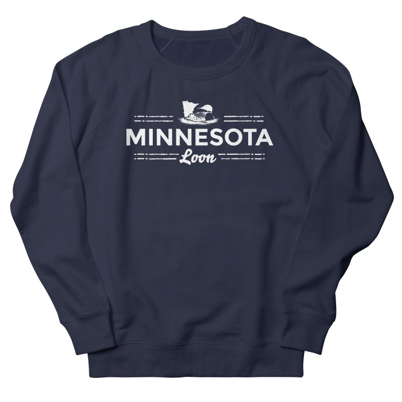 MN Loon (white) Women's French Terry Sweatshirt by Logo Mo Doodles, Drawings, and Designs