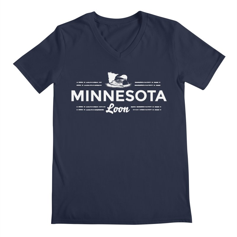 MN Loon (white) Men's Regular V-Neck by Logo Mo Doodles, Drawings, and Designs