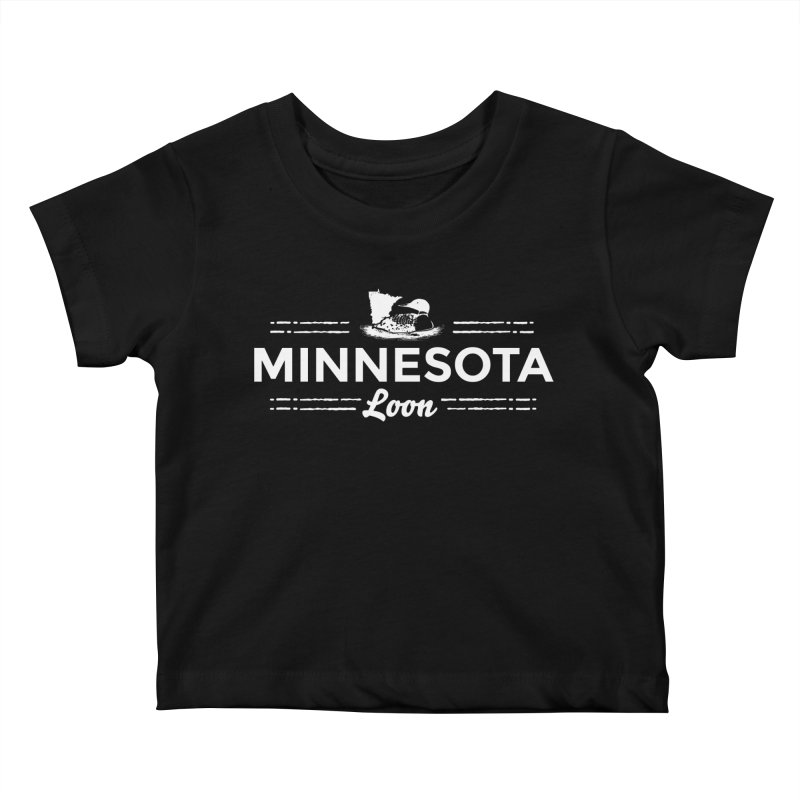 MN Loon (white) Kids Baby T-Shirt by Logo Mo Doodles, Drawings, and Designs