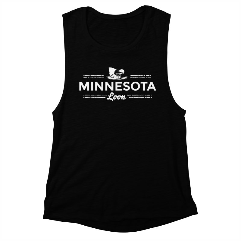 MN Loon (white) Women's Muscle Tank by Logo Mo Doodles, Drawings, and Designs