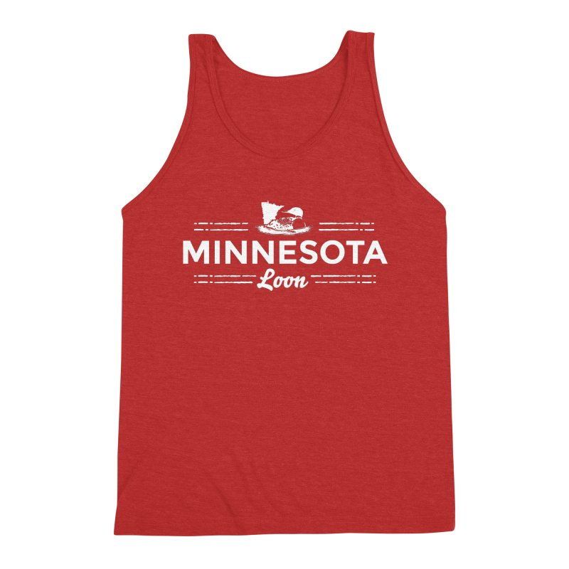 MN Loon (white) Men's Triblend Tank by Logo Mo Doodles, Drawings, and Designs