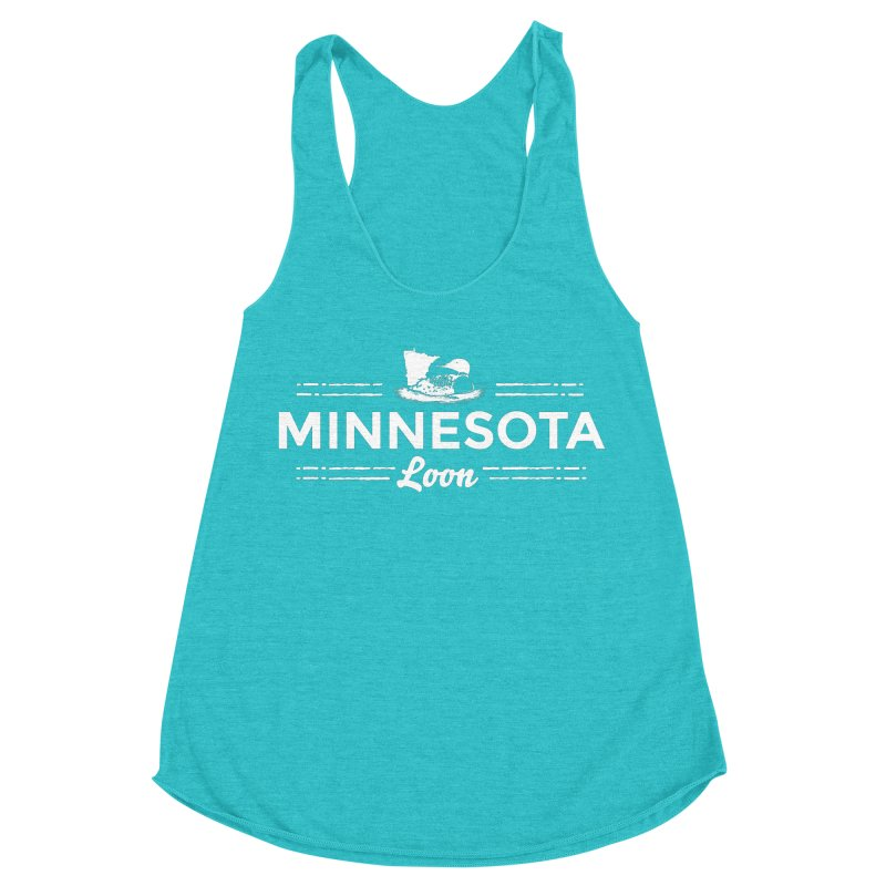 MN Loon (white) Women's Racerback Triblend Tank by Logo Mo Doodles, Drawings, and Designs