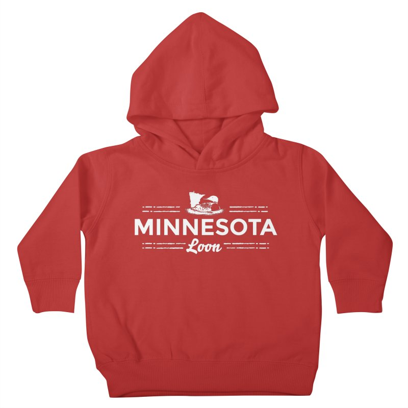 MN Loon (white) Kids Toddler Pullover Hoody by Logo Mo Doodles, Drawings, and Designs