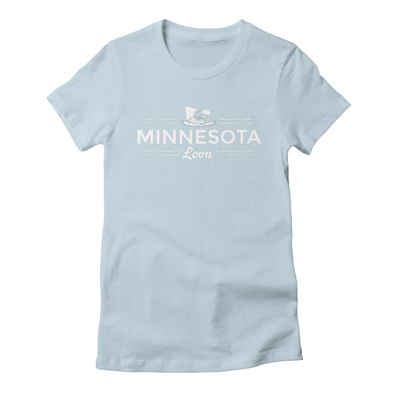 MN Loon (white) Women's Fitted T-Shirt by Logo Mo Doodles, Drawings, and Designs