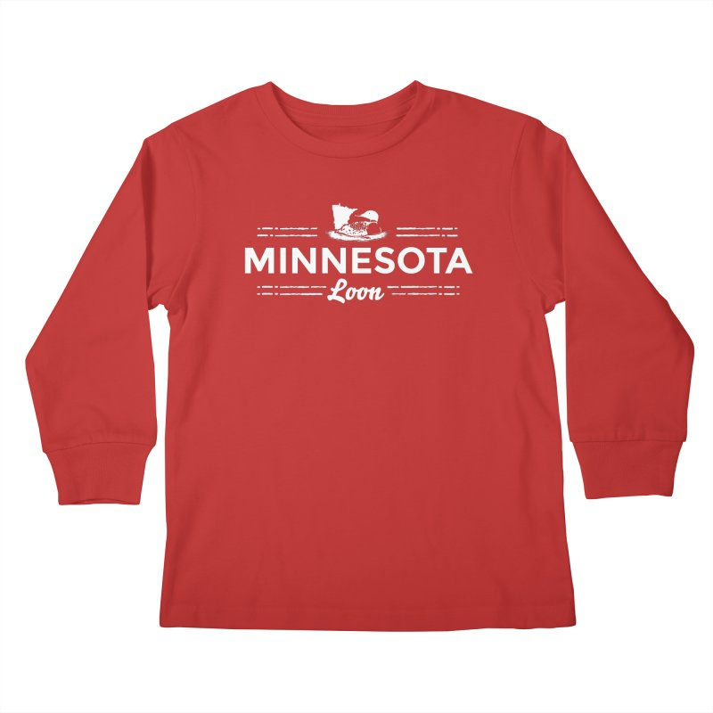 MN Loon (white) Kids Longsleeve T-Shirt by Logo Mo Doodles, Drawings, and Designs