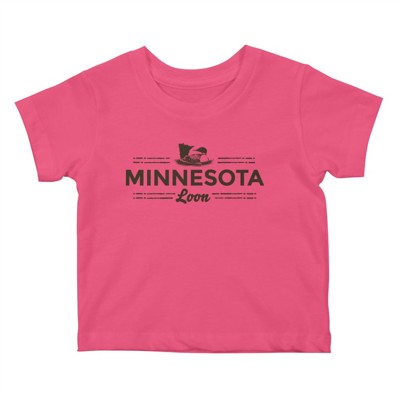 MN Loon (dark) Kids Baby T-Shirt by Logo Mo Doodles, Drawings, and Designs
