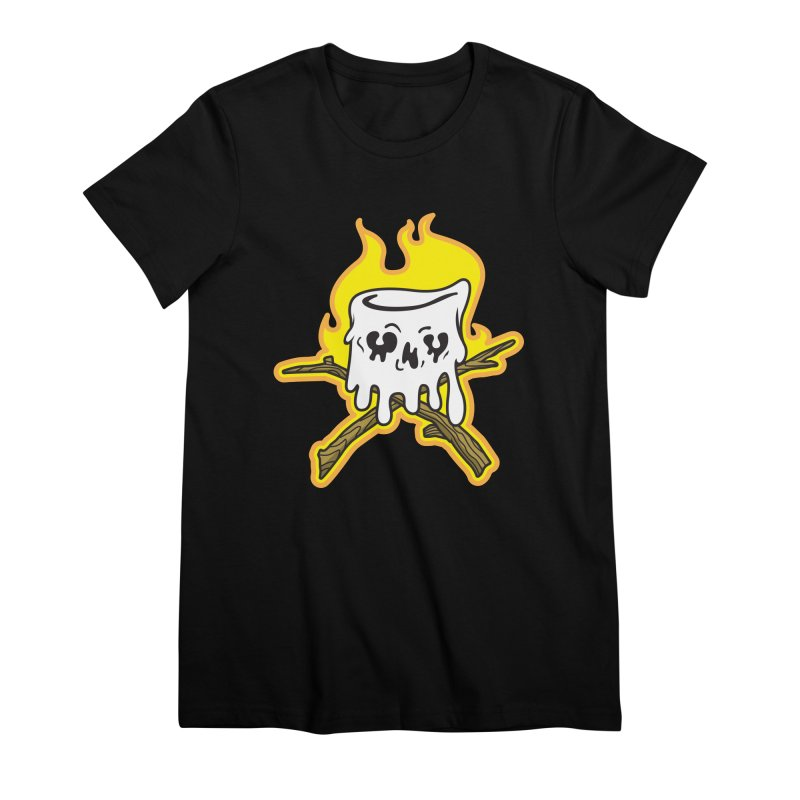 S'more Skull and Cross Sticks Large Front Women's Premium T-Shirt by Logo Mo Doodles, Drawings, and Designs