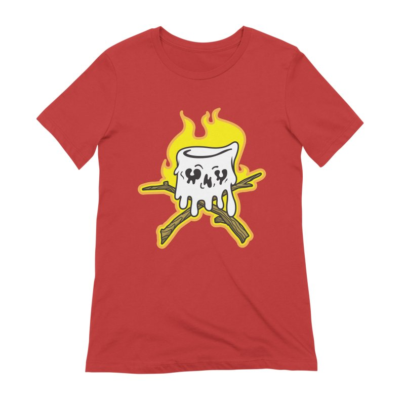 S'more Skull and Cross Sticks Large Front Women's Extra Soft T-Shirt by Logo Mo Doodles, Drawings, and Designs