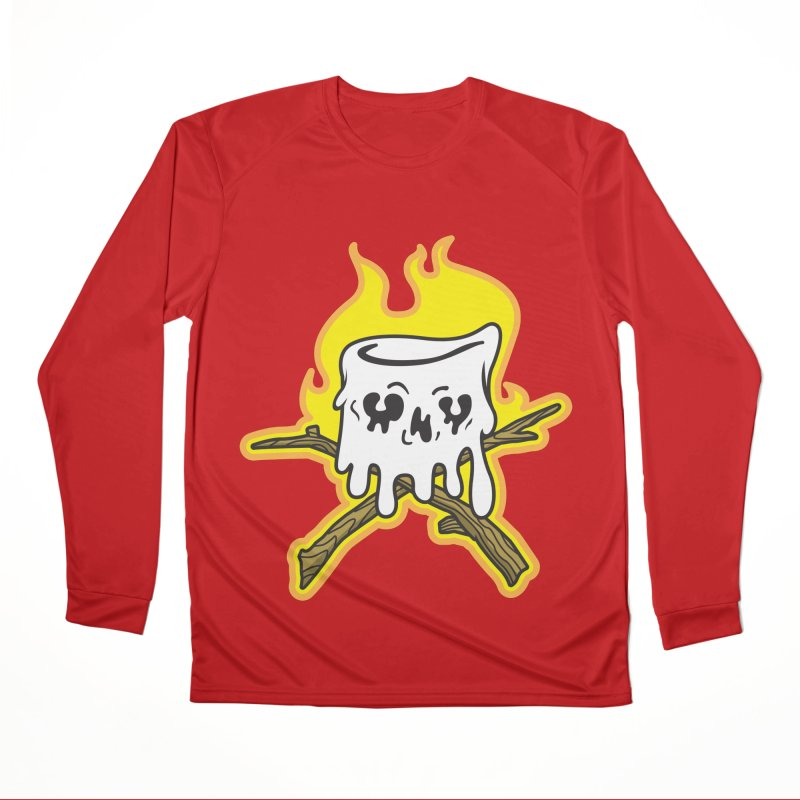 S'more Skull and Cross Sticks Large Front Women's Performance Unisex Longsleeve T-Shirt by Logo Mo Doodles, Drawings, and Designs
