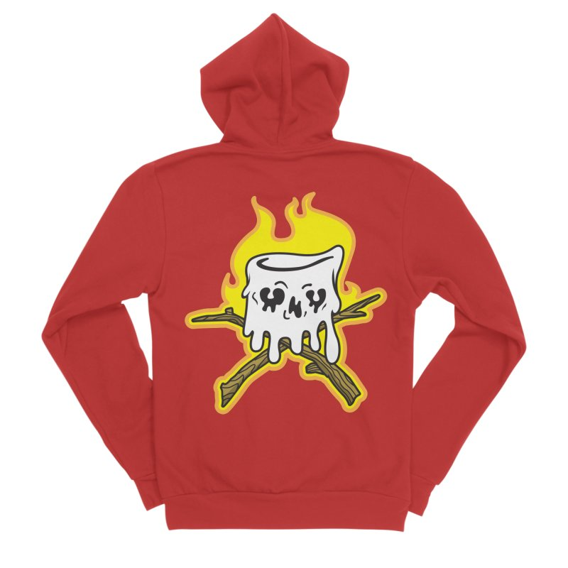 S'more Skull and Cross Sticks Large Front Women's Sponge Fleece Zip-Up Hoody by Logo Mo Doodles, Drawings, and Designs