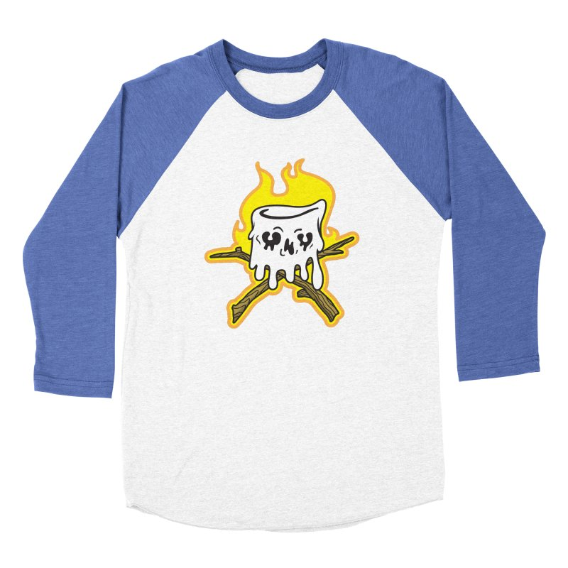 S'more Skull and Cross Sticks Large Front Women's Baseball Triblend Longsleeve T-Shirt by Logo Mo Doodles, Drawings, and Designs