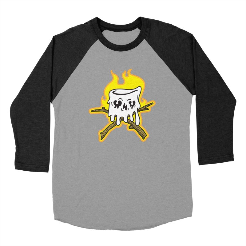 S'more Skull and Cross Sticks Large Front Men's Baseball Triblend Longsleeve T-Shirt by Logo Mo Doodles, Drawings, and Designs