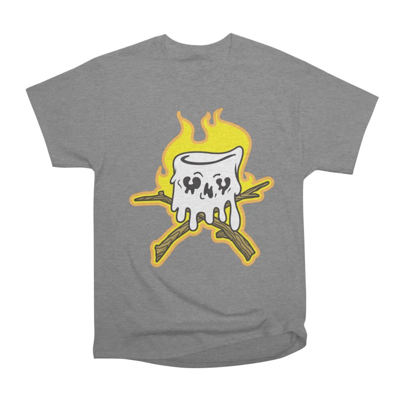 S'more Skull and Cross Sticks Large Front Women's Heavyweight Unisex T-Shirt by Logo Mo Doodles, Drawings, and Designs