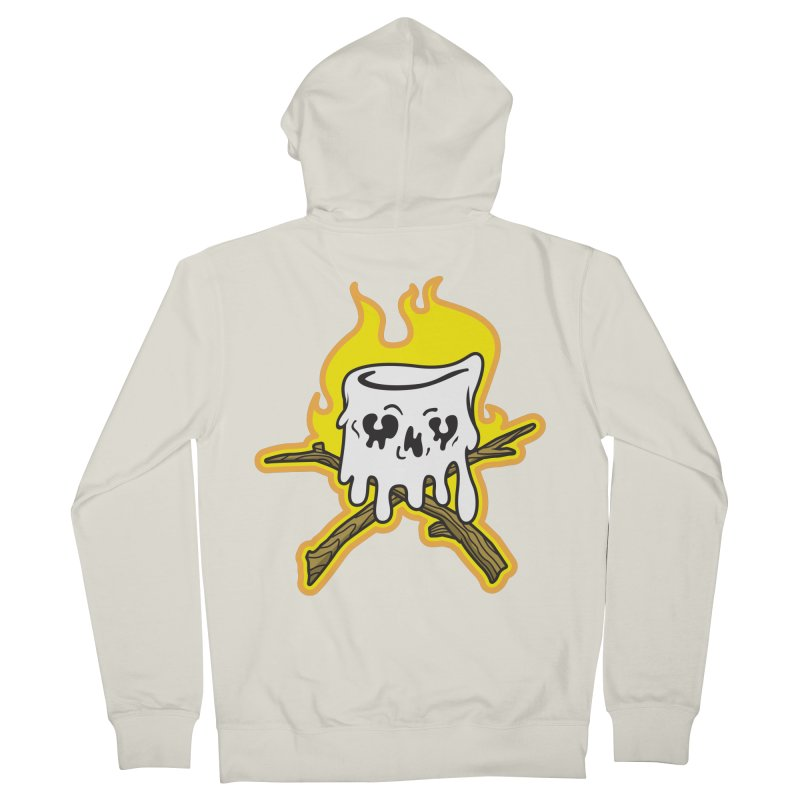 S'more Skull and Cross Sticks Large Front Men's French Terry Zip-Up Hoody by Logo Mo Doodles, Drawings, and Designs