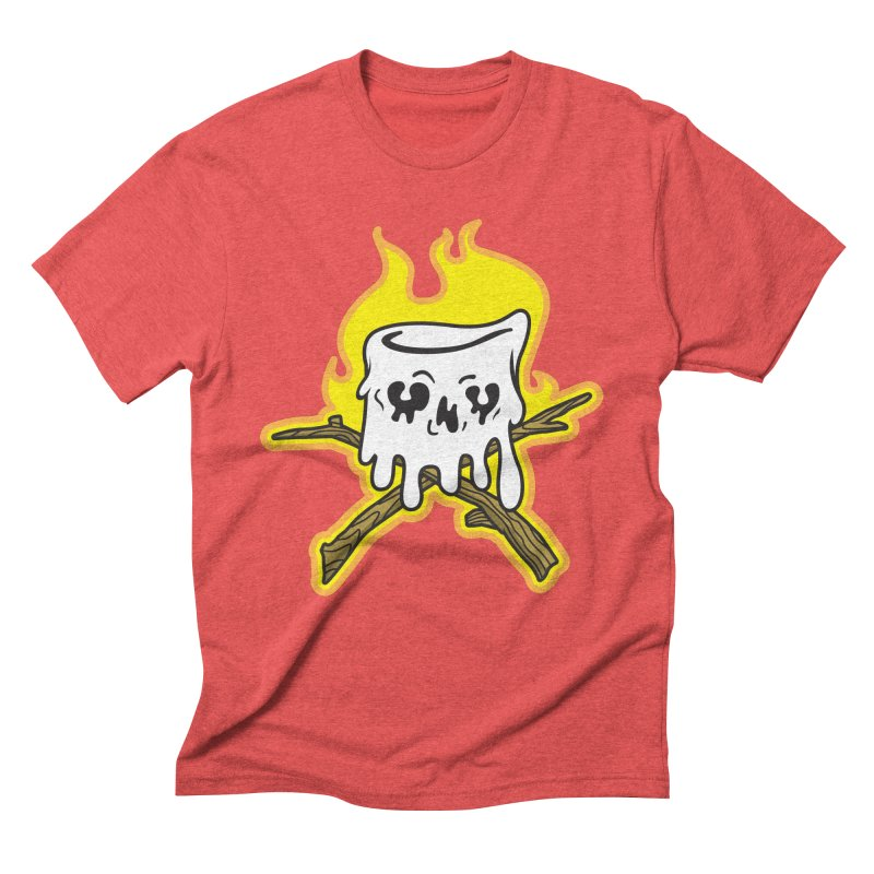 S'more Skull and Cross Sticks Large Front Men's Triblend T-Shirt by Logo Mo Doodles, Drawings, and Designs