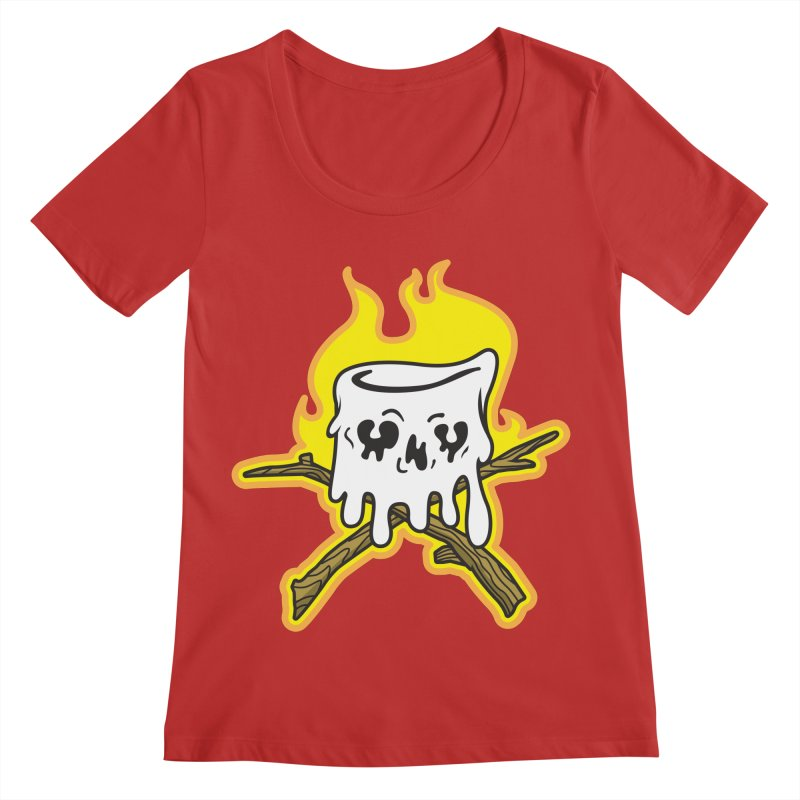 S'more Skull and Cross Sticks Large Front Women's Regular Scoop Neck by Logo Mo Doodles, Drawings, and Designs