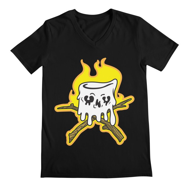S'more Skull and Cross Sticks Large Front Men's Regular V-Neck by Logo Mo Doodles, Drawings, and Designs
