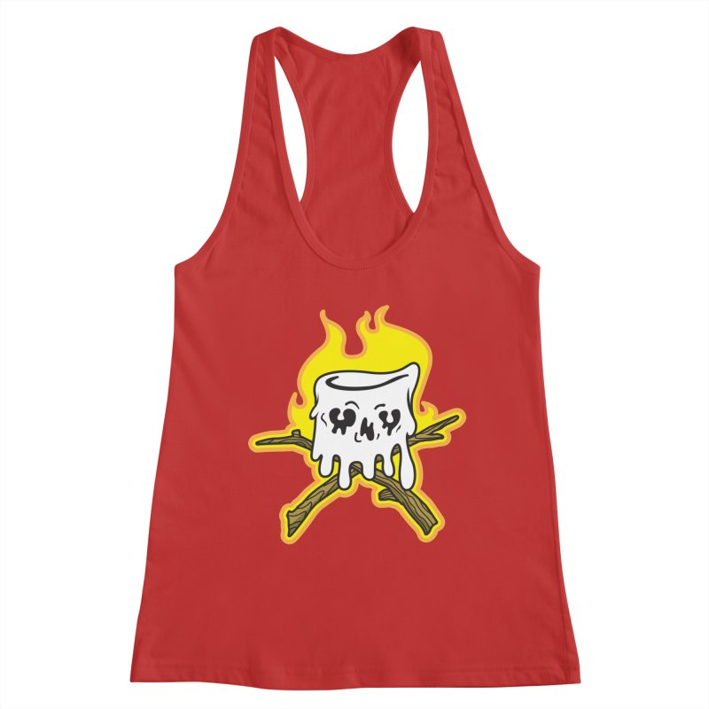 S'more Skull and Cross Sticks Large Front Women's Racerback Tank by Logo Mo Doodles, Drawings, and Designs