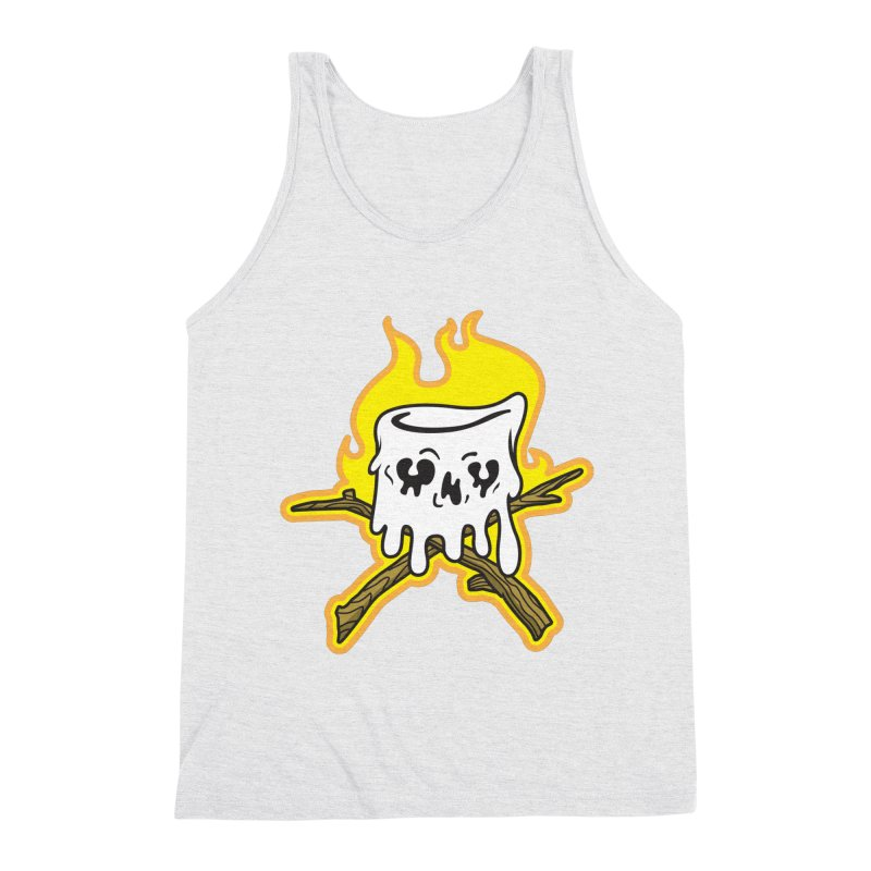 S'more Skull and Cross Sticks Large Front Men's Triblend Tank by Logo Mo Doodles, Drawings, and Designs