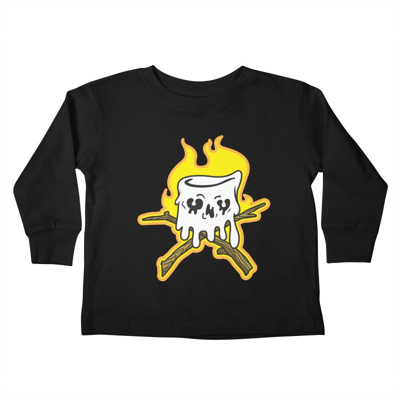 S'more Skull and Cross Sticks Large Front Kids Toddler Longsleeve T-Shirt by Logo Mo Doodles, Drawings, and Designs