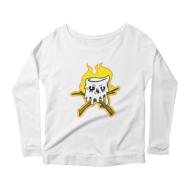 S'more Skull and Cross Sticks Large Front Women's Scoop Neck Longsleeve T-Shirt by Logo Mo Doodles, Drawings, and Designs