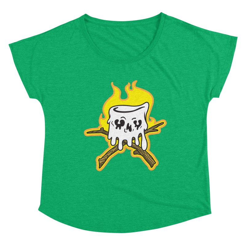 S'more Skull and Cross Sticks Large Front Women's Dolman Scoop Neck by Logo Mo Doodles, Drawings, and Designs