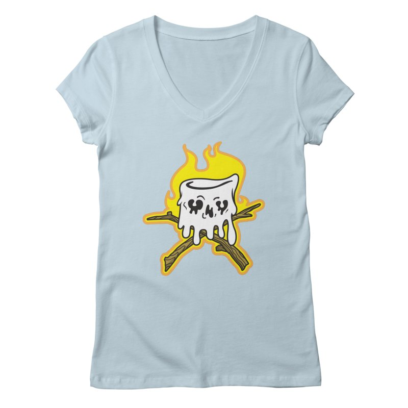 S'more Skull and Cross Sticks Large Front Women's Regular V-Neck by Logo Mo Doodles, Drawings, and Designs