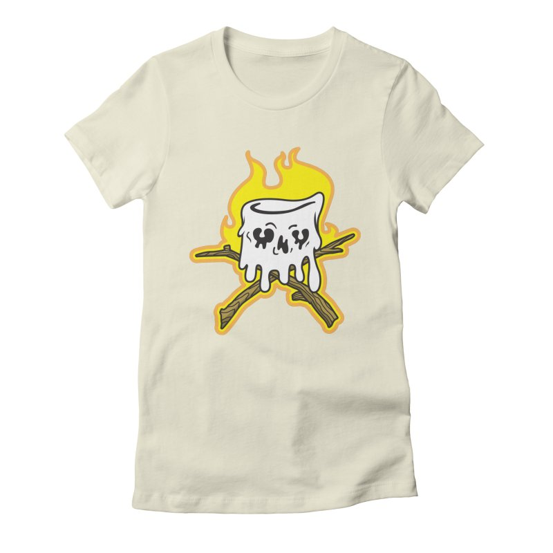 S'more Skull and Cross Sticks Large Front Women's Fitted T-Shirt by Logo Mo Doodles, Drawings, and Designs