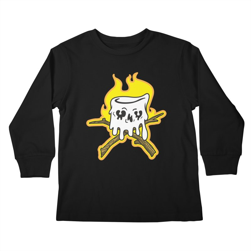 S'more Skull and Cross Sticks Large Front Kids Longsleeve T-Shirt by Logo Mo Doodles, Drawings, and Designs