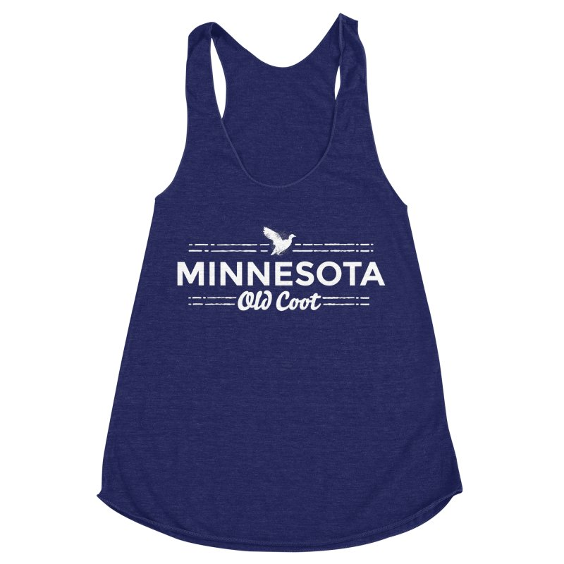 MN Old Coot (white) Women's Racerback Triblend Tank by Logo Mo Doodles, Drawings, and Designs