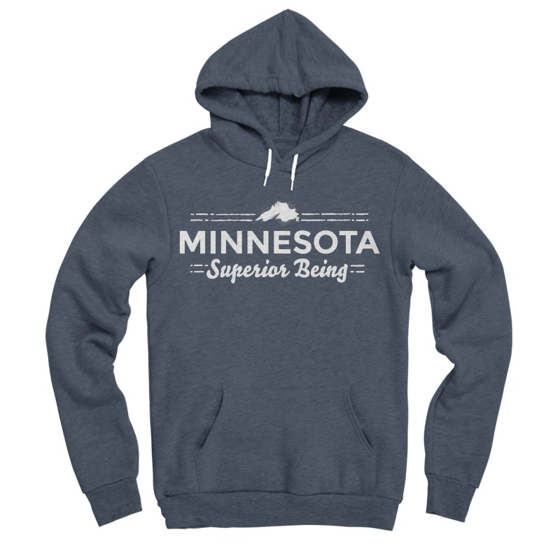 MN Superior Being (white) Men's Sponge Fleece Pullover Hoody by Logo Mo Doodles, Drawings, and Designs