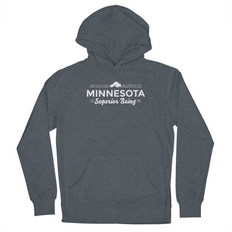 MN Superior Being (white) Men's French Terry Pullover Hoody by Logo Mo Doodles, Drawings, and Designs