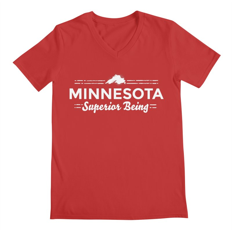 MN Superior Being (white) Men's Regular V-Neck by Logo Mo Doodles, Drawings, and Designs