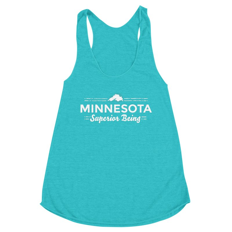 MN Superior Being (white) Women's Racerback Triblend Tank by Logo Mo Doodles, Drawings, and Designs